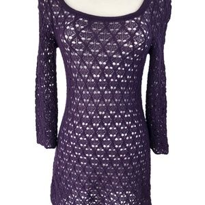 Knitted Knotted Anthro Wool Crochet Dress S Purple